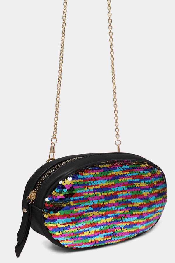 Black Multiwear Rainbow Sequins Bumbag And Crossbody Bag
