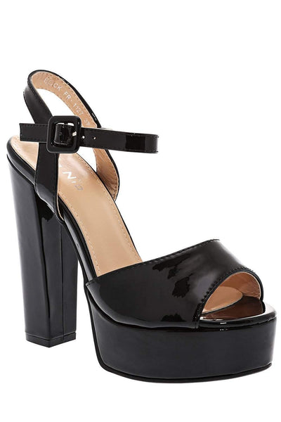 Block Heel Black Platform Sandals-Single price