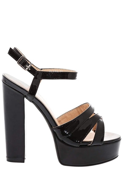 Block Heel Black Strappy Platform Sandals-Single price