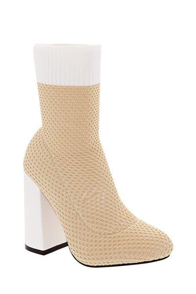 Block Heel Knitted Beige Sock Boots-Single price