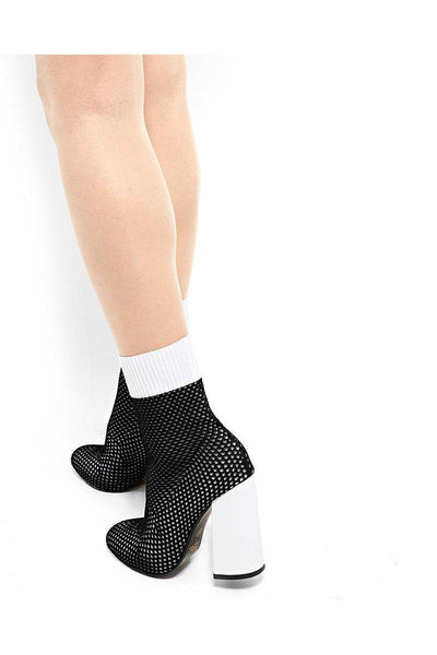 Block Heel Knitted Black Sock Boots-SinglePrice