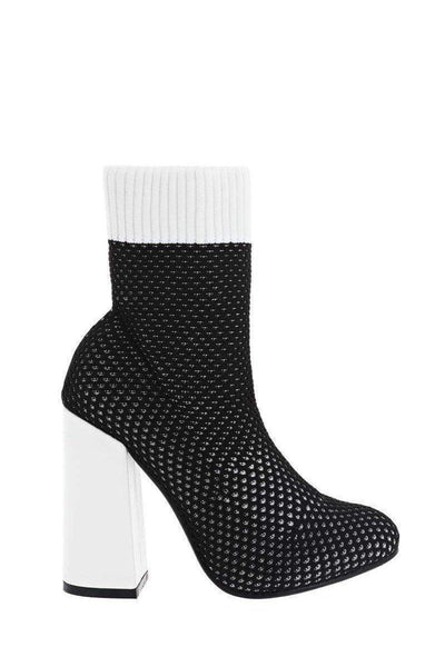 Block Heel Knitted Black Sock Boots-Single price
