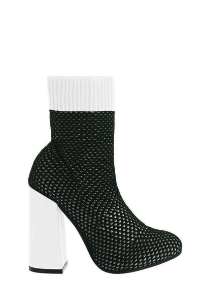 Block Heel Knitted Green Sock Boots-Single price