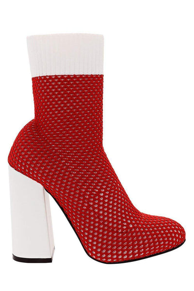 Block Heel Knitted Red Sock Boots-Single price