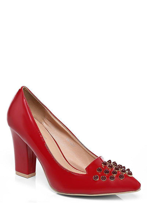 Block Heel Studded Red Pumps - SinglePrice