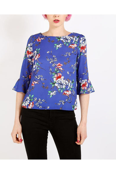 Blue Bell Sleeves Floral Print Top-SinglePrice