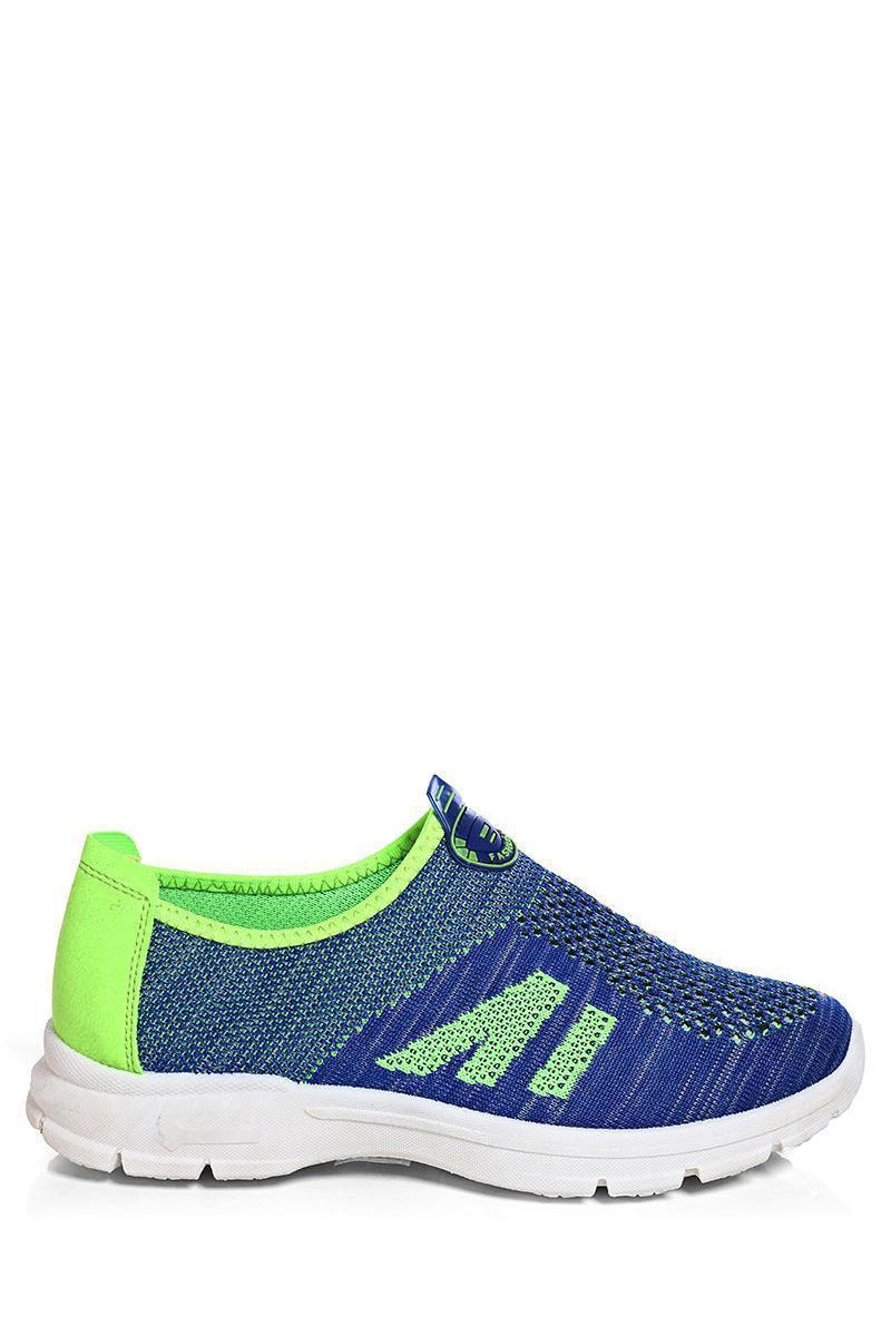 Blue Neon Contrast Panel Knit Runner Trainers - SinglePrice