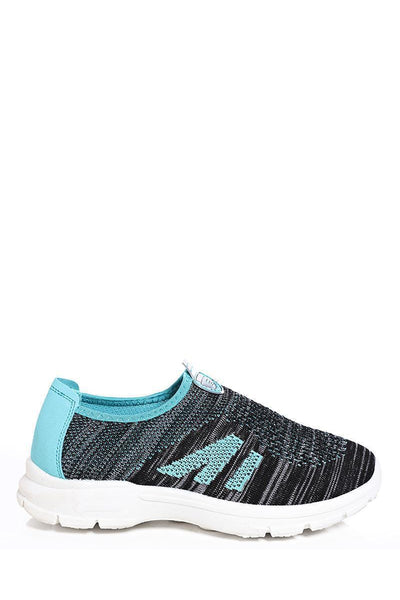 Blue Constrast Panel Knit Runner Trainers-SinglePrice