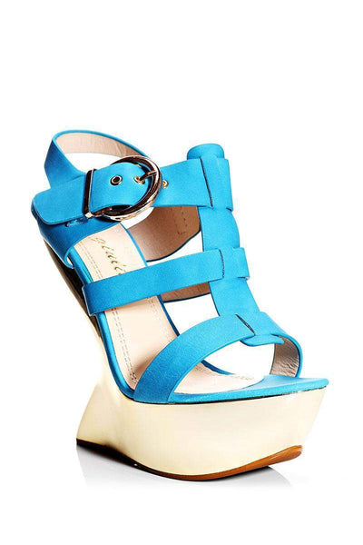 Blue Cut Out Wedge Sandals-Single price