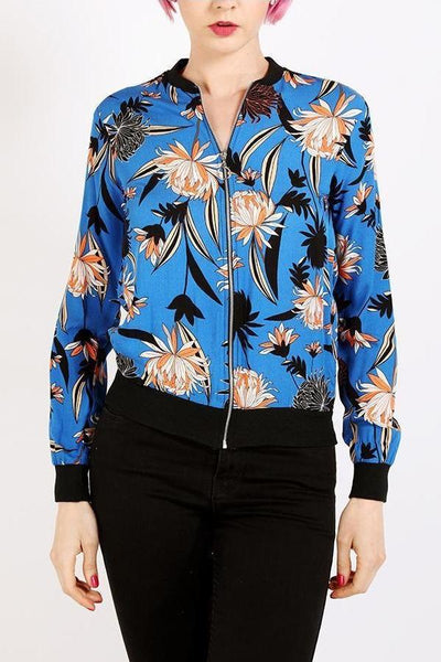 Blue Floral Print Thin Bomber Jacket-SinglePrice