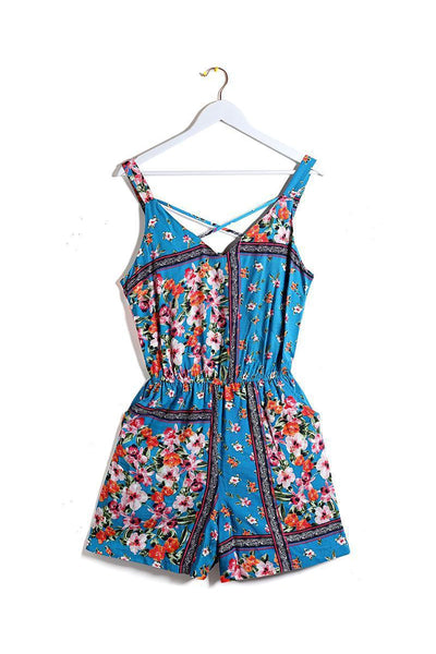Blue Floral Strappy Playsuit-SinglePrice