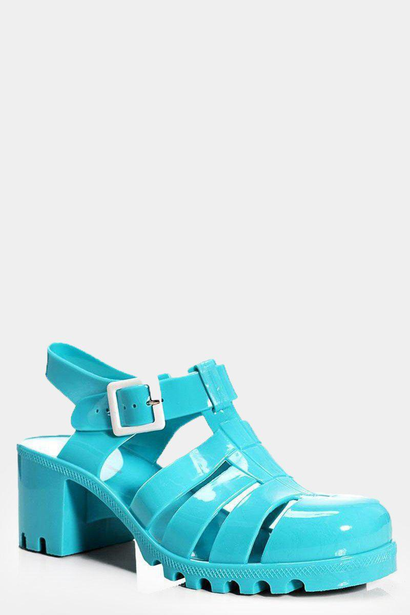 Aqua Green Cage Jelly Sandals - SinglePrice