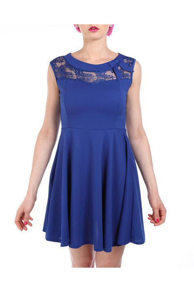 Blue Lace Detail Skater Dress-SinglePrice