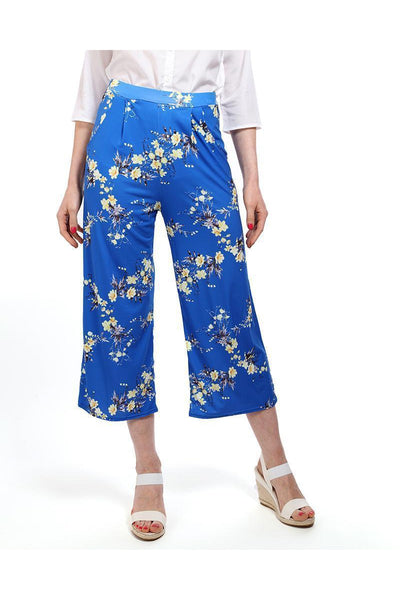 Blue Printed Cropped Palazzo Pants-SinglePrice