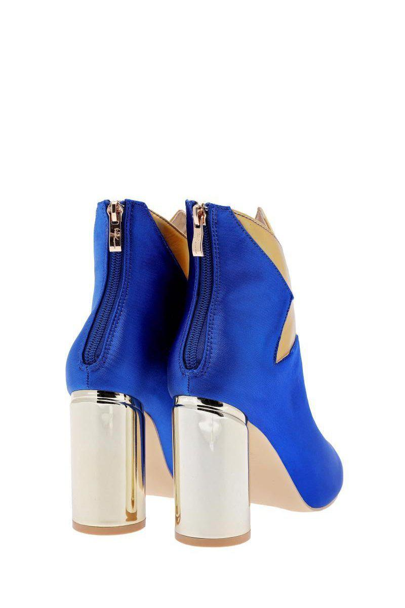 Blue Satin Contrast Star Ankle Boots-Single price