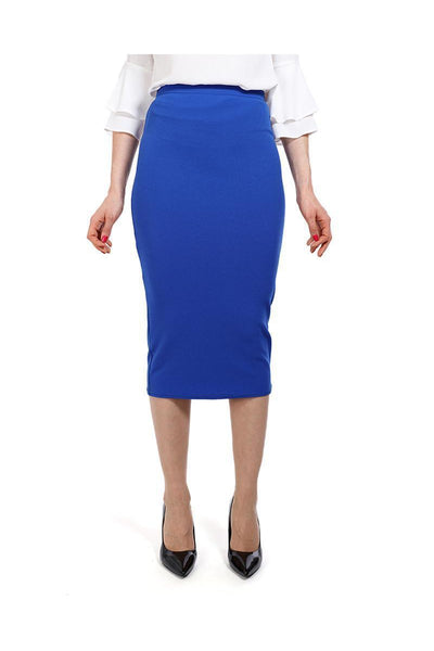 Blue Textured Midi Skirt-SinglePrice