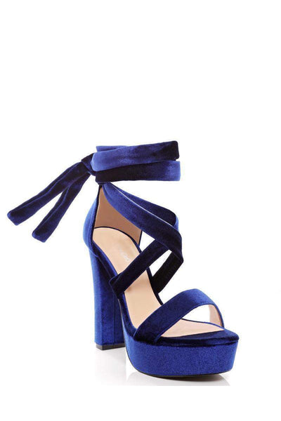 Blue Velvet Lace Up Platforms-Single price