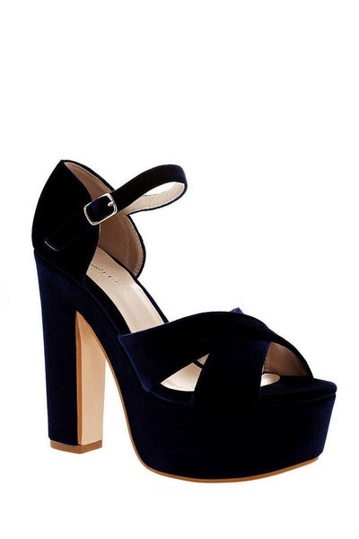 Blue Velvet Platform Sandals-Single price