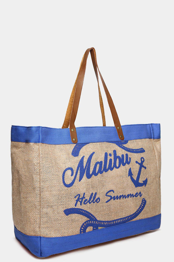 Blue Malibu Large Beach Bag