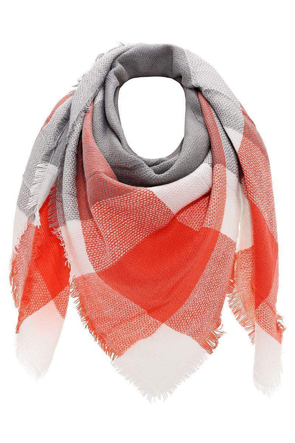 Bold Plaid Coral Square Scarf - SinglePrice