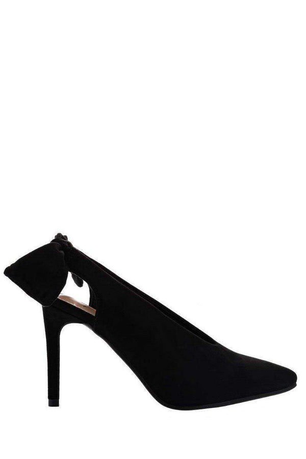Bow Back Black Suede Pumps - SinglePrice
