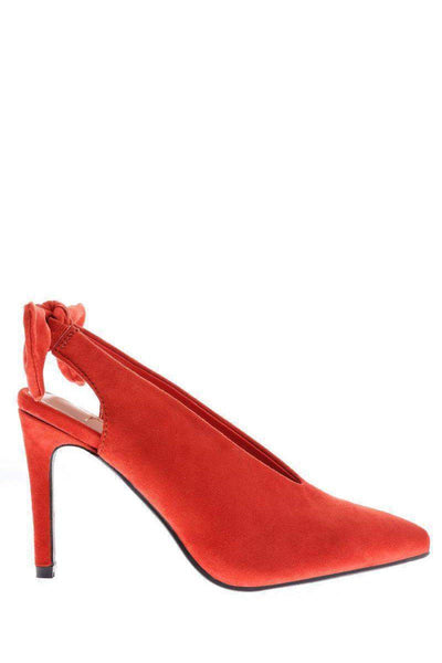 Bow Back Coral Red Suede Pumps-Single price
