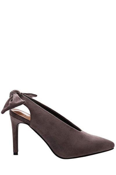 Bow Back Grey Suede Pumps-Single price