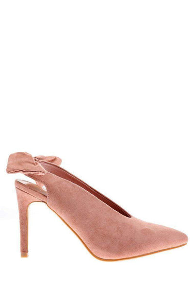Bow Back Pink Suede Pumps-Single price