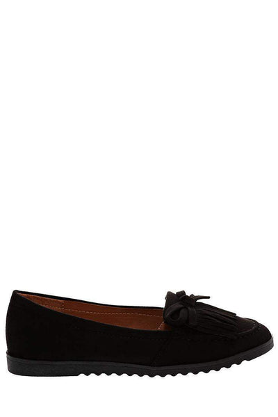 Bow Fringe Black Flats-Single price