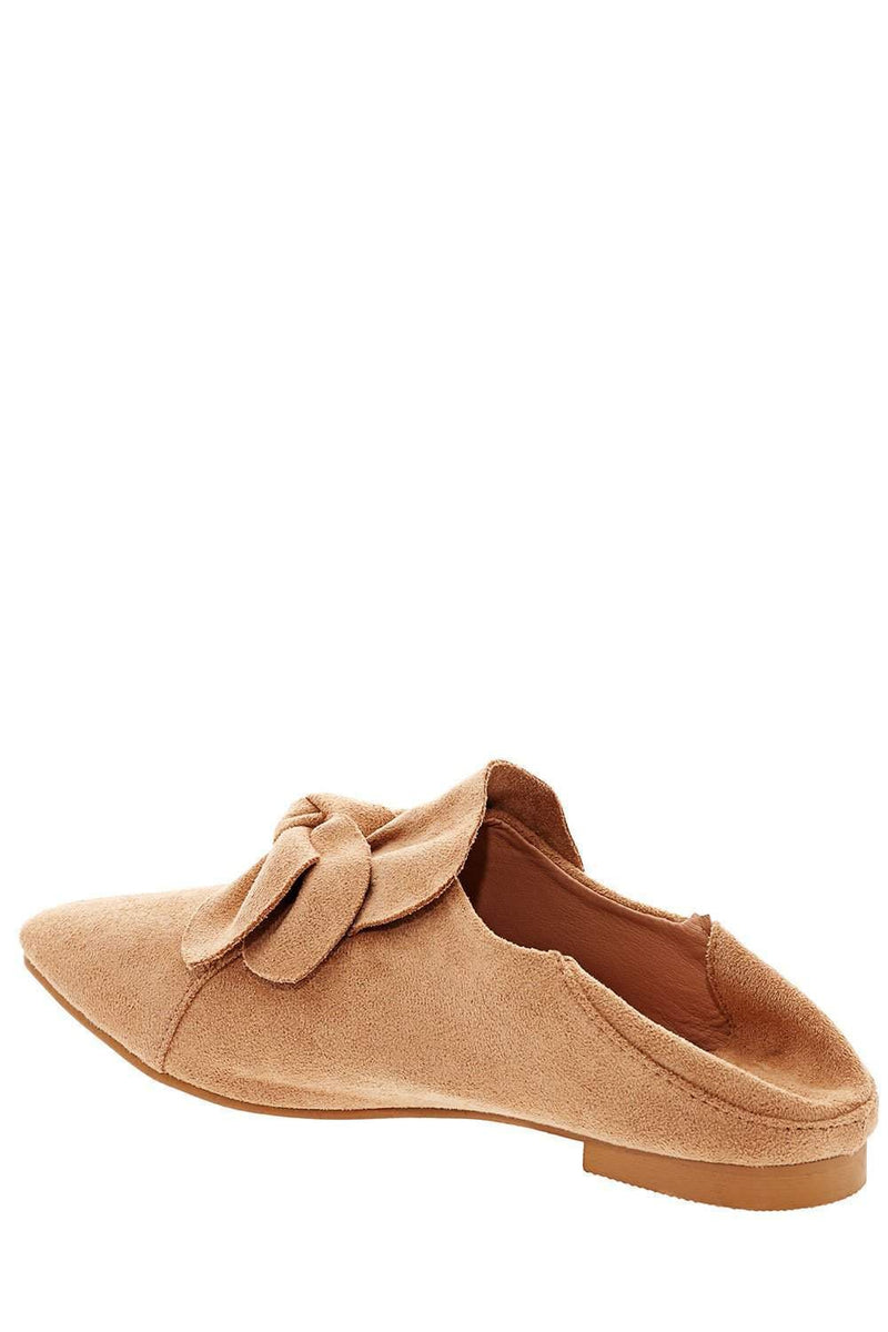 Bow Front Beige Fold Back Flats-Single price
