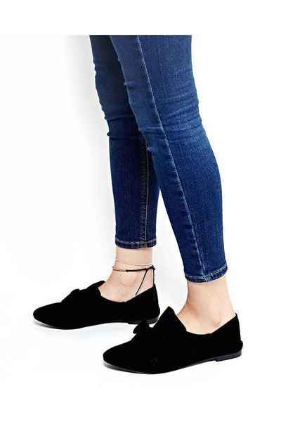 Bow Front Black Fold Back Flats