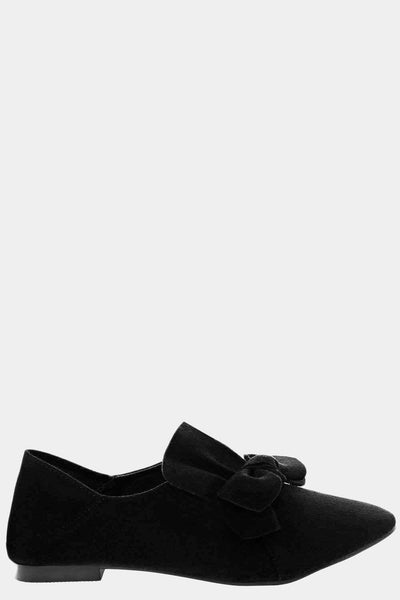 Bow Front Black Fold Back Flats-Single price