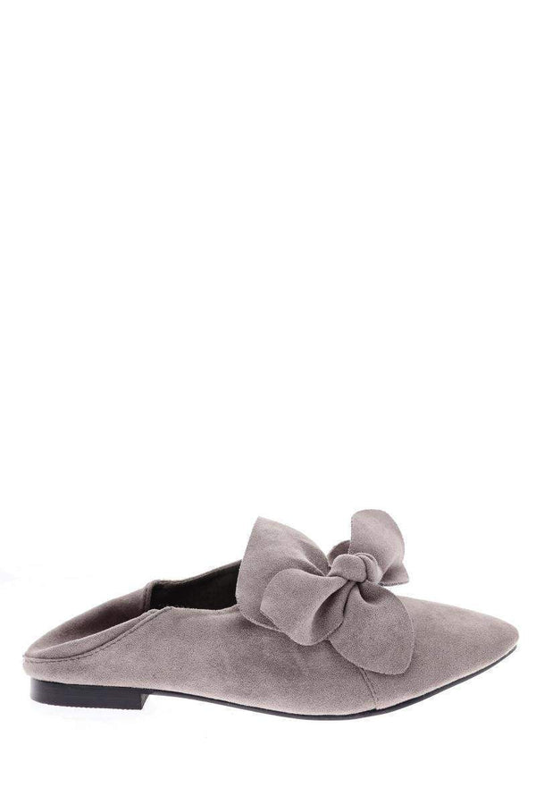 Bow Front Grey Fold Back Flats - SinglePrice