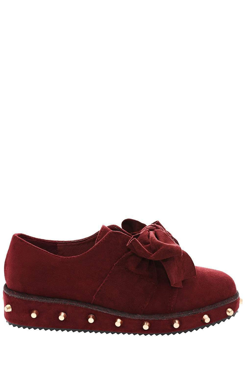 Bow Front Studded Maroon Flats-Single price