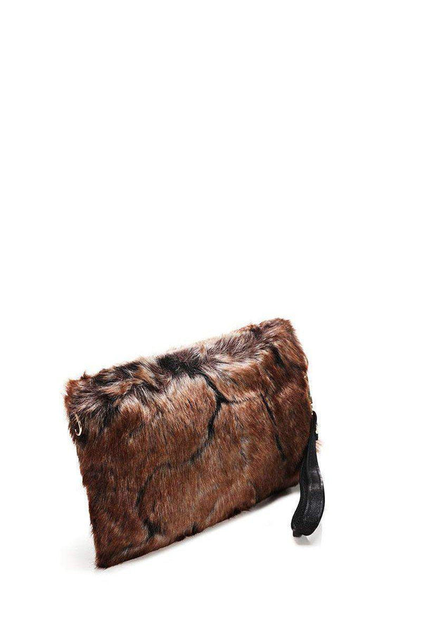 Brown Faux Fur Small Clutch - SinglePrice