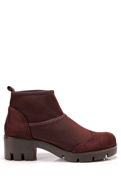 Brown Sock Block Heeled Ankle Boots-Single price