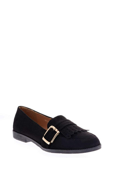 Buckle Detail Black Loafer Flats-Single price