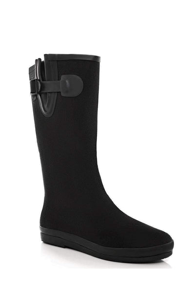 Buckle Detail Black Tall Welly Boots-Single price