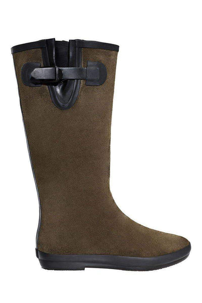 Buckle Detail Green Tall Welly Boots-SinglePrice