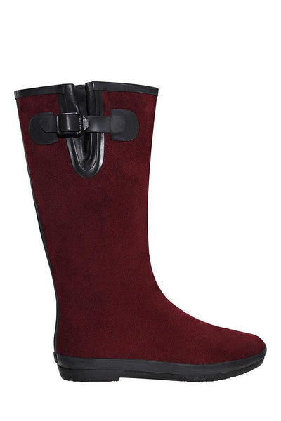 Buckle Detail Wine Tall Welly Boots-Single price