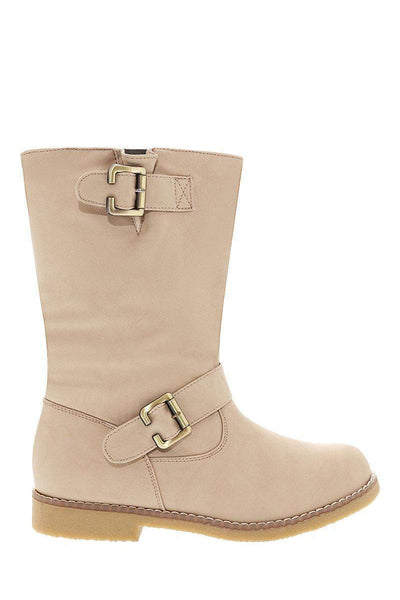 Buckle Details Beige Boots-Single price
