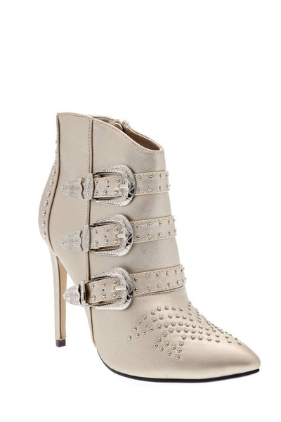 Buckle Details Studded Gold Ankle Boots-Single price