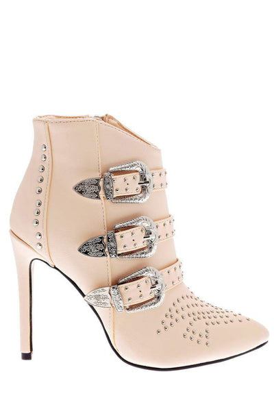 Buckle Details Studded Nude Ankle Boots-Single price