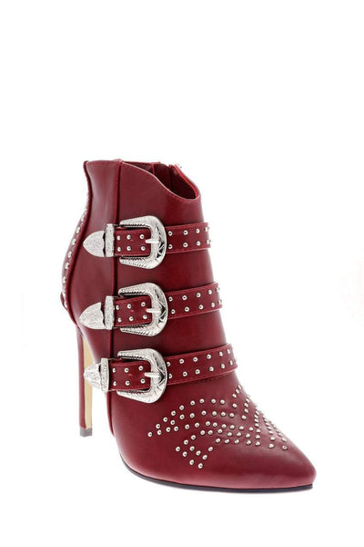 Buckle Details Studded Red Ankle Boots-Single price