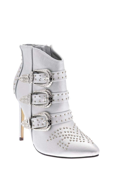 Buckle Details Studded Silver Ankle Boots-Single price
