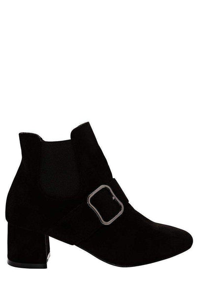 Buckle Strap Low Heel Black Ankle Boots-Single price
