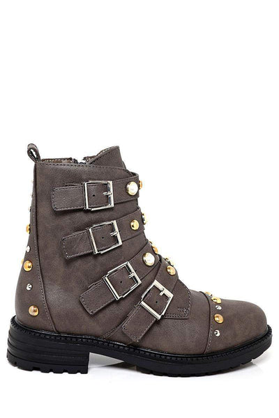 Buckled Studded Grey Biker Boots-SinglePrice