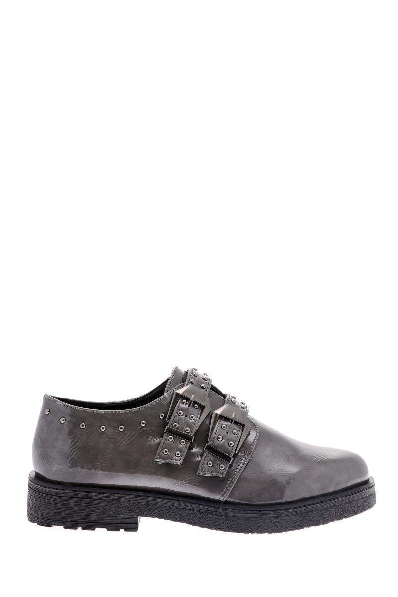 Buckled Studded Grey Shoes-Single price