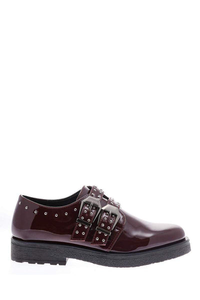 Buckled Studded Red Shoes-Single price