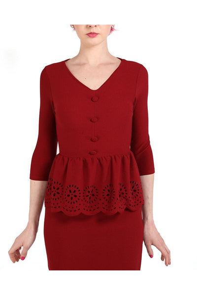 Burgundy Laser Cut Design Peplum Top-SinglePrice